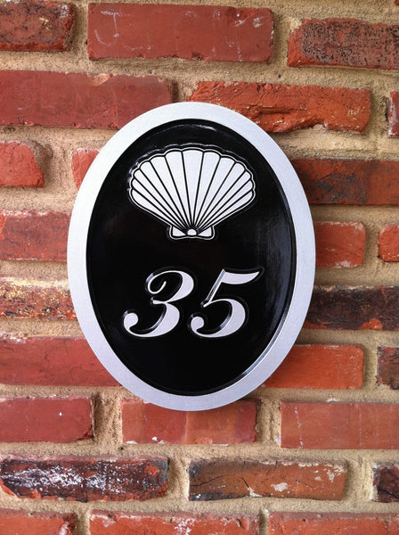 2 digit house number plaque with sea shell high contrast easy to read