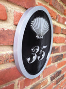 2 digit house number sign with sea shell black and silver easy to read