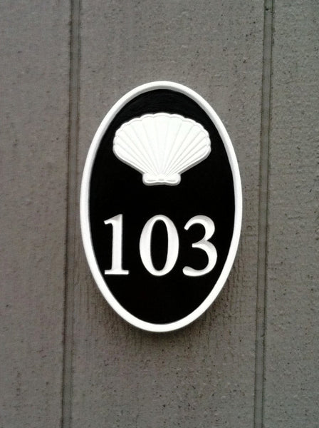 Oval house number sign with scallop shell - nautical theme