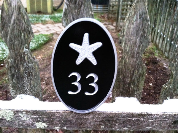 Oval house number sign with starfish - nautical theme