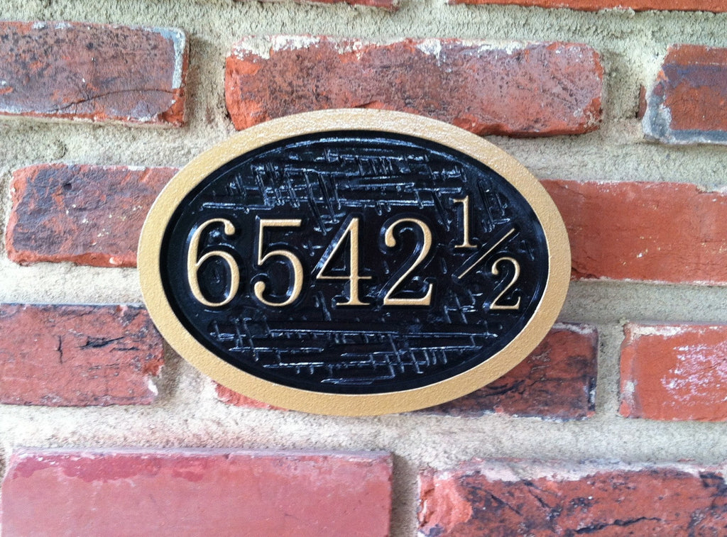 Oval house number sign with half number 4 digit