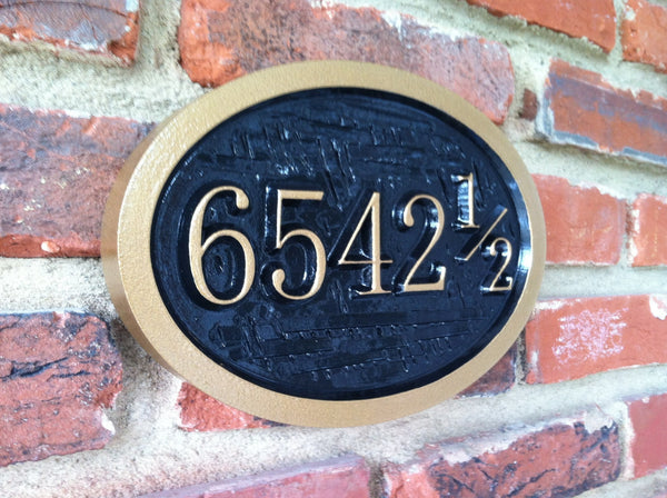 Oval house number sign with half number 4 digit -iso