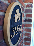 3 Digit Custom House Number with Shamrock or other image (A8) - The Carving Company
