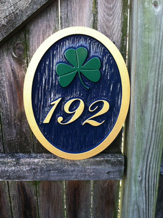 3 digit house number sign with green shamrock