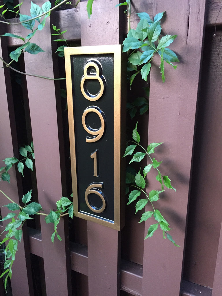 4 digit house number sign with mid century modern font vertical orientation
