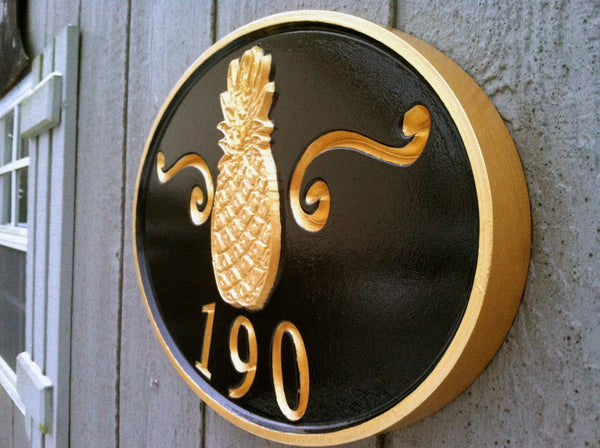 Oval house number sign with welcome pineapple -190 iso