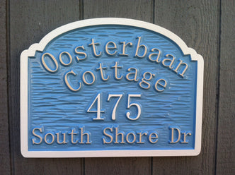 Custom Carved Cottage Street Address with Last Name Entry Way Sign (LN12) - The Carving Company