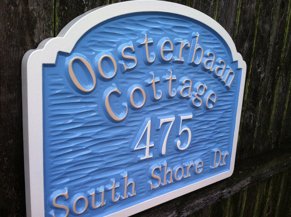 Personalized Street Signs >> Custom Carved Cottage Street Address with Last Name – The Carving Company