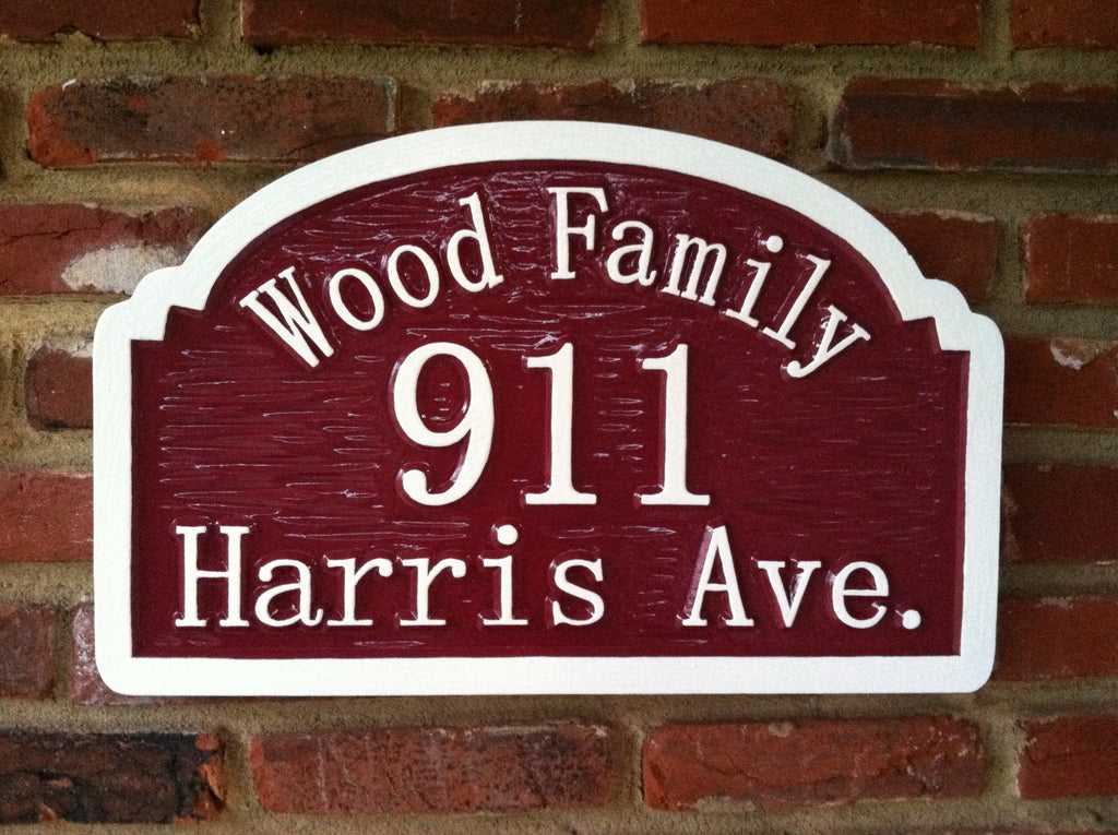 Peronalized Carved Street Address sign with Family Name (A15) - The Carving Company