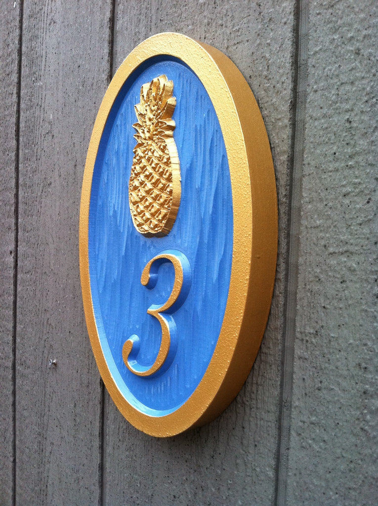 street number sign with pineapple a71 the carving company. Black Bedroom Furniture Sets. Home Design Ideas