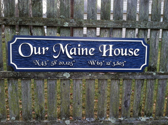 Custom  Quarterboard sign - Add your name or place and coordinates (Q6) - The Carving Company