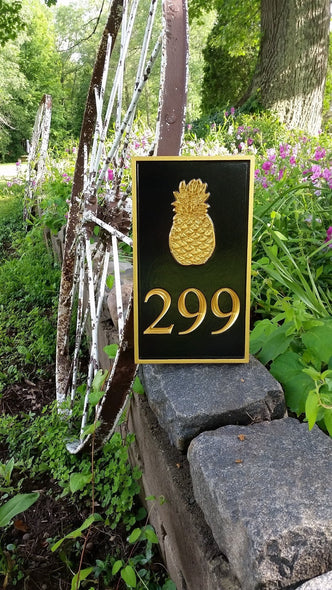 Carved Street Address plaque / House number with Pineapple (A84) - The Carving Company