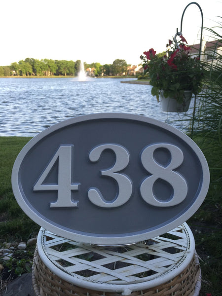 438 house number sign - front