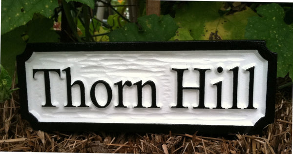 Custom carved Thorn Hill estate sign -front