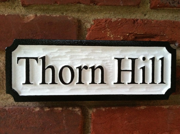 Custom Carved Thorn Hill estate sign black and white -front2