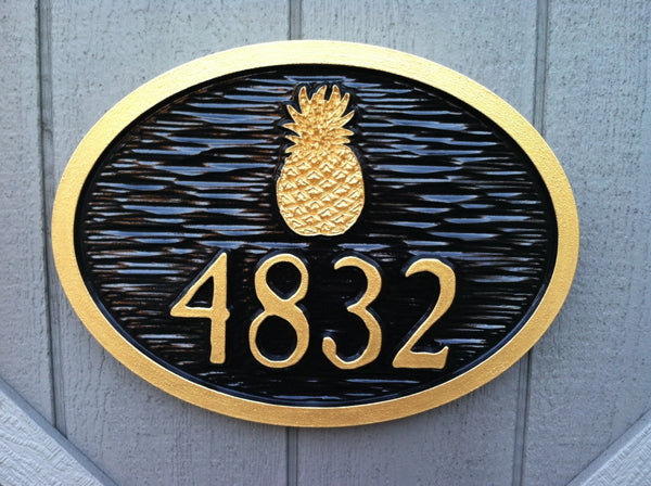Colonial New England them house number sign with pineapple and vintage font