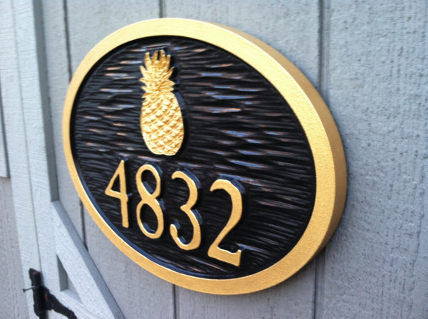 4 digit colonial vintage house number sign with pineapple relief carved