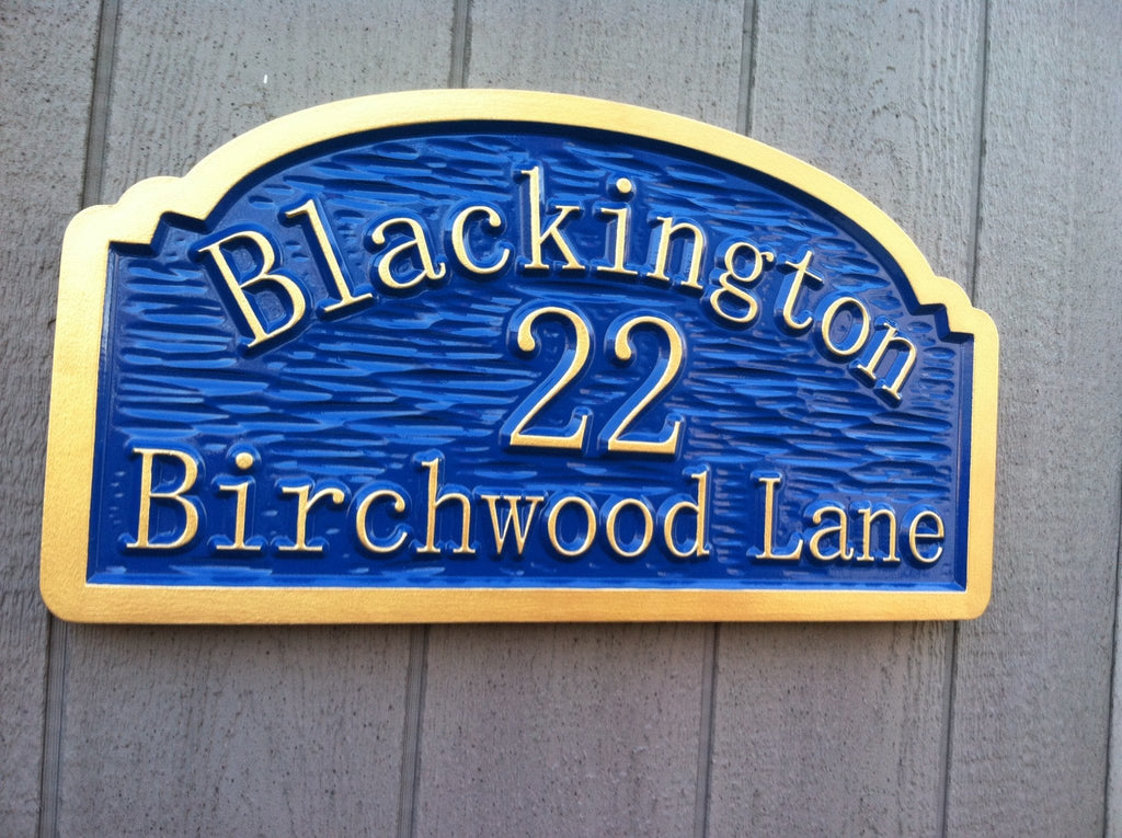Blackington address sign textured background -front