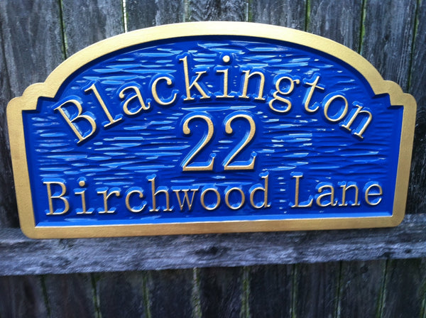 Blackington address sign textured background -front3