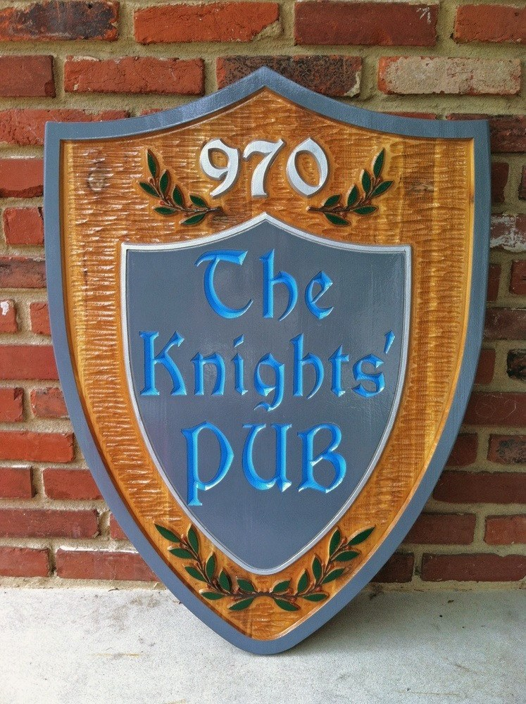 The Knights Pub cedar sign -front