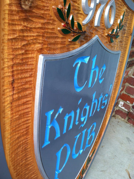 The Knights Pub cedar sign -iso