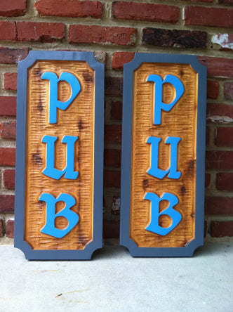 Custom Carved Cedar Pub Signs  (BP100) - The Carving Company