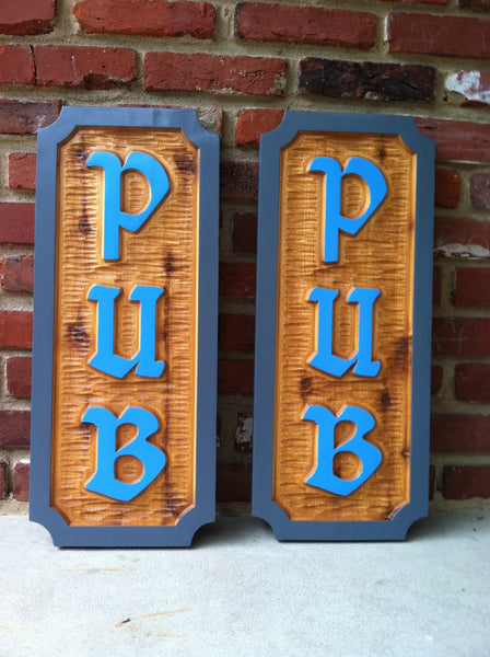 Cedar pub signs in stained wood with work Pub
