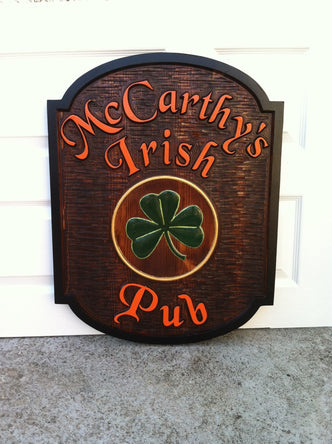 Custom Carved  Cedar Wood Pub Sign (BP4) - The Carving Company