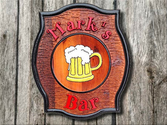 Custom Carved Cedar Bar Sign with Beer Stein (BP7) - The Carving Company
