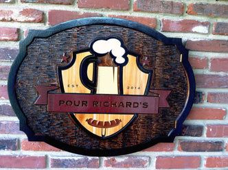 Custom Carved Bar-Pub-Tavern Sign - Cedar Stained and Painted (BP30) - The Carving Company