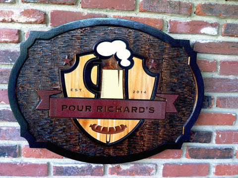 Pour Richard's cedar bar sign - front