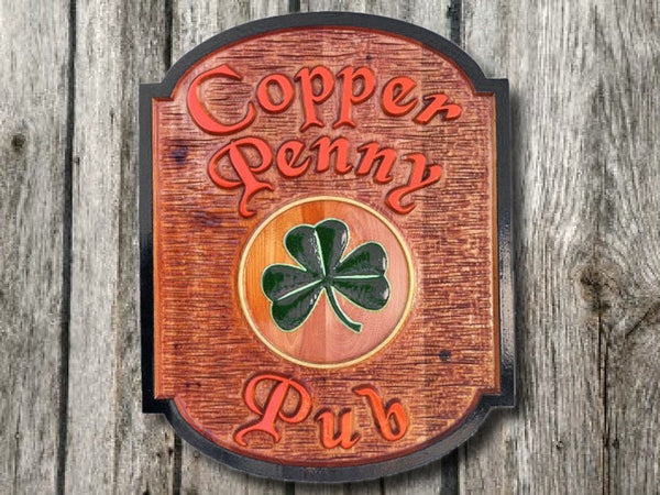 Copper Penny cedar pub sign with shamrock - front