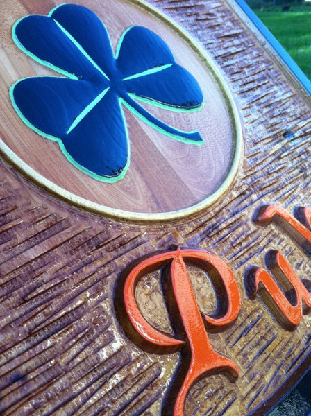Copper Penny cedar pub sign with shamrock - iso 1