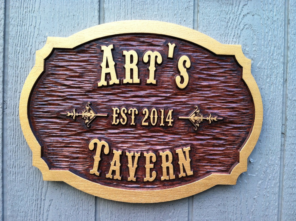 Customized Oak Wood Carved Tavern - pub - Bar Sign (BP20) - The Carving Company