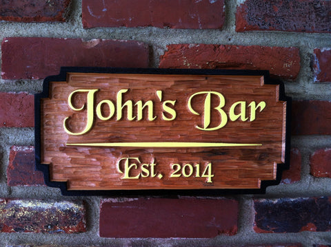 John's Bar cedar carved sign yellow letters and black border