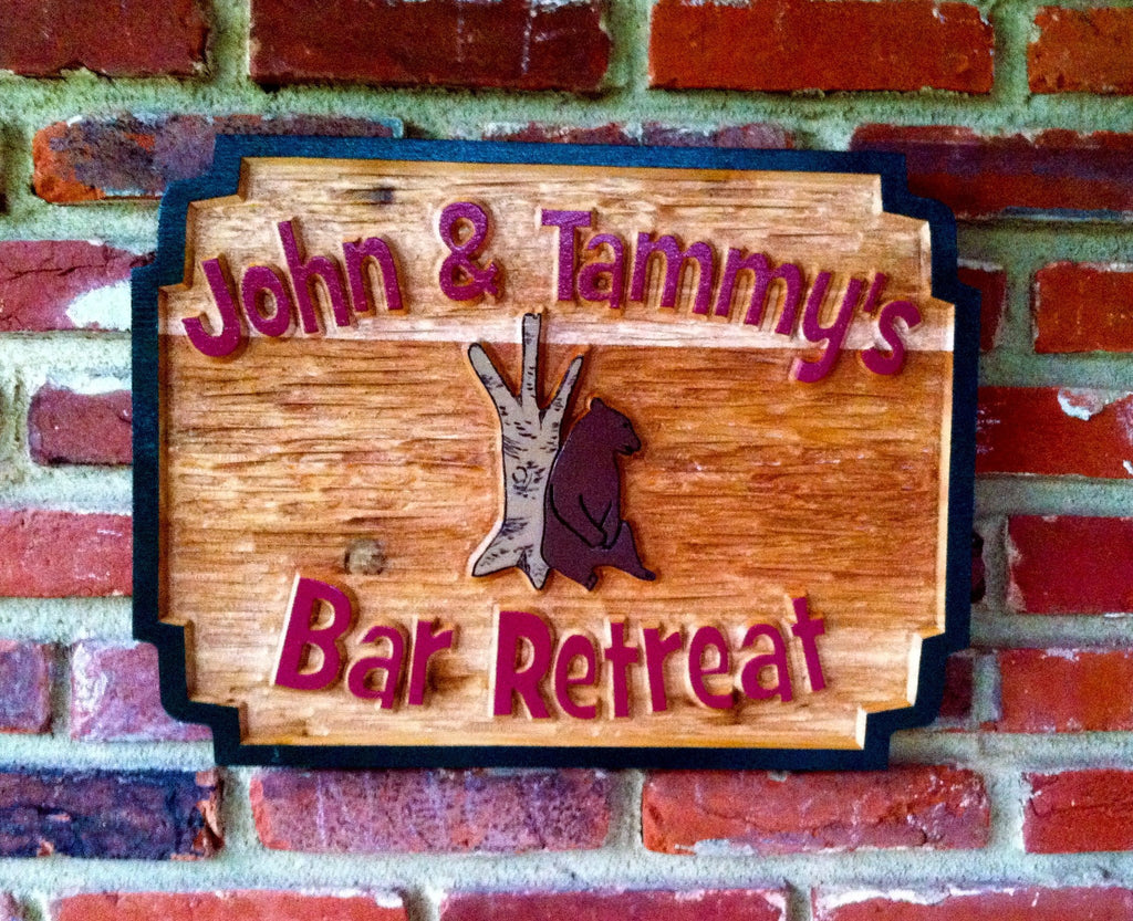 Custom Carved Cedar Wood Bar Sign with Bear image- Design your own (BP42) - The Carving Company