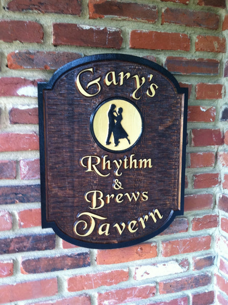 Garys Rhythm and Brews Tavern cedar bar sign with dancers image