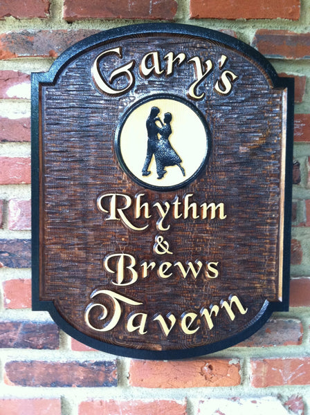 Garys Rhythm and Brews Tavern cedar bar sign with dancers image -front