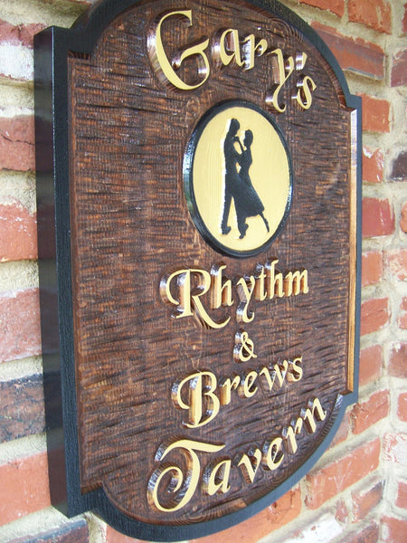 Garys Rhythm and Brews Tavern cedar bar sign with dancers image -iso