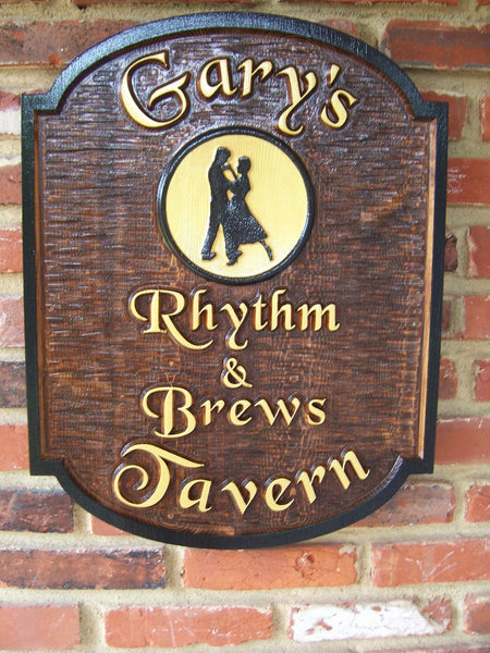 Garys Rhythm and Brews Tavern cedar bar sign with dancers image -front2