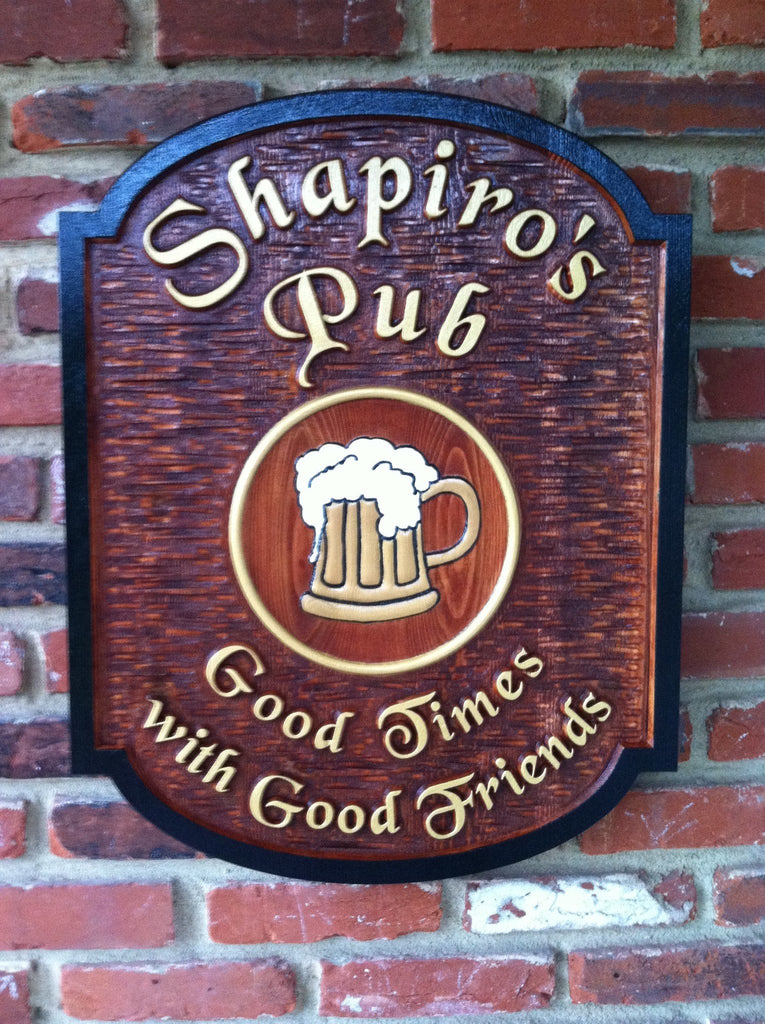 Shapiros Pub cedar sign stained background with beer mug