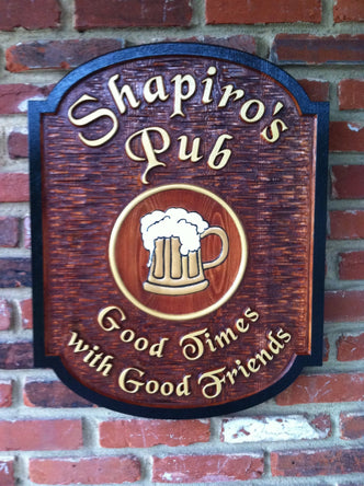 Custom Carved Cedar Pub Sign with Custom Image and tag line (BP26) - The Carving Company
