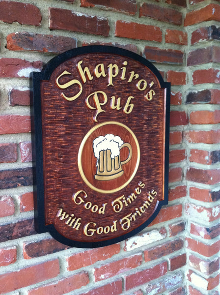 Shapiros Pub cedar sign -iso2 stained background with beer mug