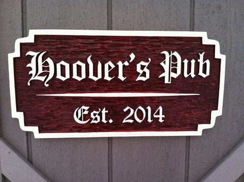 All Signs,Bar Signs,Cedar Signs,Fun Signs,Great Gift Ideas,Family Name Sign - Custom Carved Wood Old English Bar / Pub Sign - Cedar Signs (BP44)