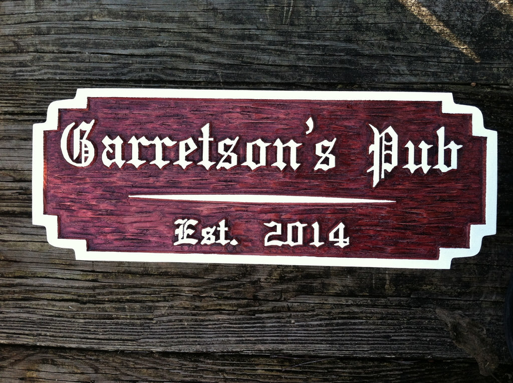 Personalized Old English Bar / Pub Sign with Established Date (BP35) - The Carving Company