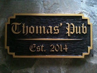 Personalized Old English Bar Sign with Est. Date (BP36) - The Carving Company