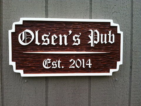 Custom carved personalized cedar pub sign with last name and est date