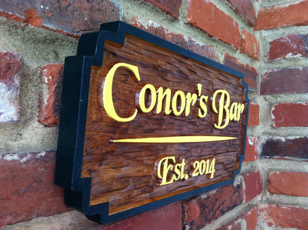 Cedar carved personalized bar sign with est date