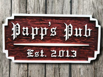 Old English Pub Sign - Custom Carved Cedar Sign (BP6) - The Carving Company