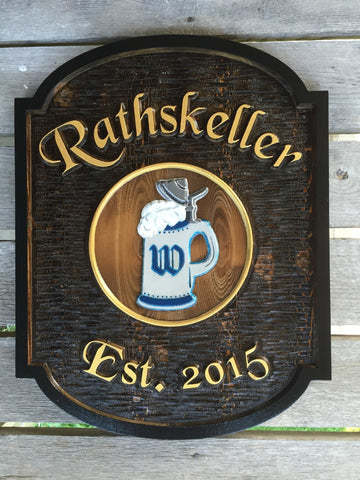 Rathskeller cedar bar sign with stein image -front